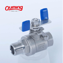2PC Ball Valve Male/male Thread Butterfly Handle